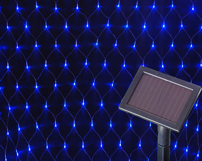 Amorphous Solar 100 LED Net Lights/LED Solar Curtain Lights